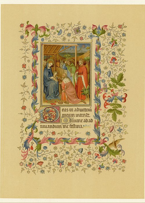 Jesus Greeting Card featuring the drawing The Magi With Mary And Jesus - Page by Mary Evans Picture Library
