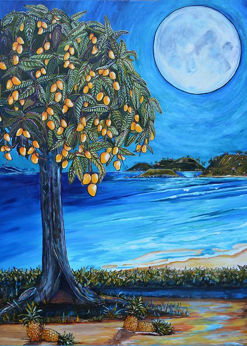 Mangos Greeting Card featuring the painting The Mango Tree by Patti Schermerhorn