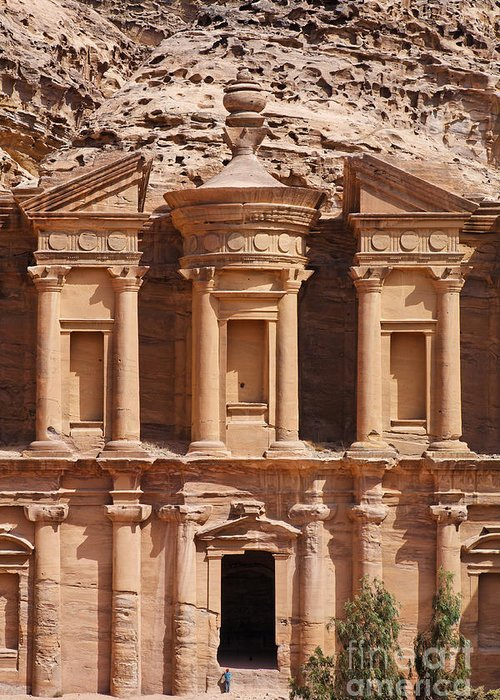 Ad Deir Greeting Card featuring the photograph The Monastery At Petra In Jordan by Robert Preston