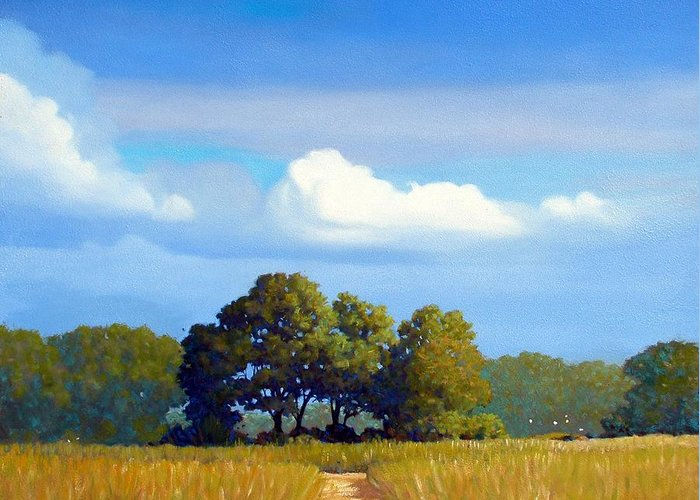 Landscape Greeting Card featuring the painting The Path by Kevin Lawrence Leveque