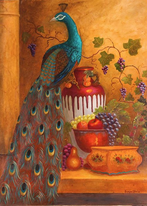 Still Life Greeting Card featuring the painting The Peacock by Jeanene Stein
