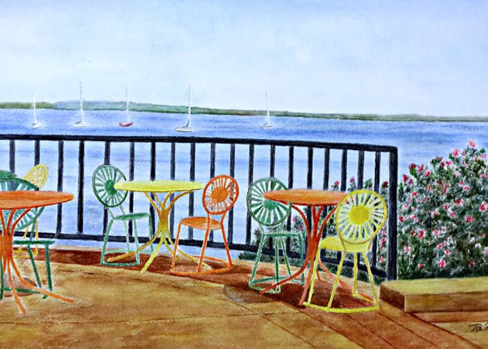 Watercolor Greeting Card featuring the painting The Terrace View by Thomas Kuchenbecker