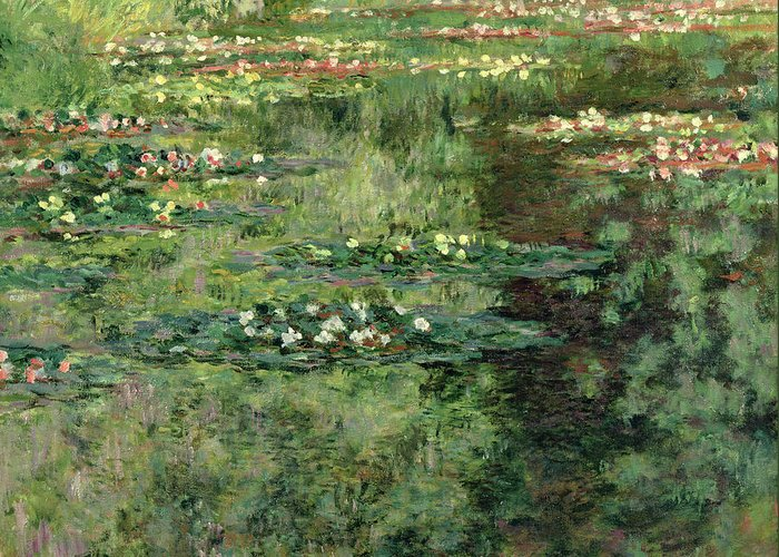 Etang Aux Nympheas Greeting Card featuring the painting The Waterlily Pond by Claude Monet