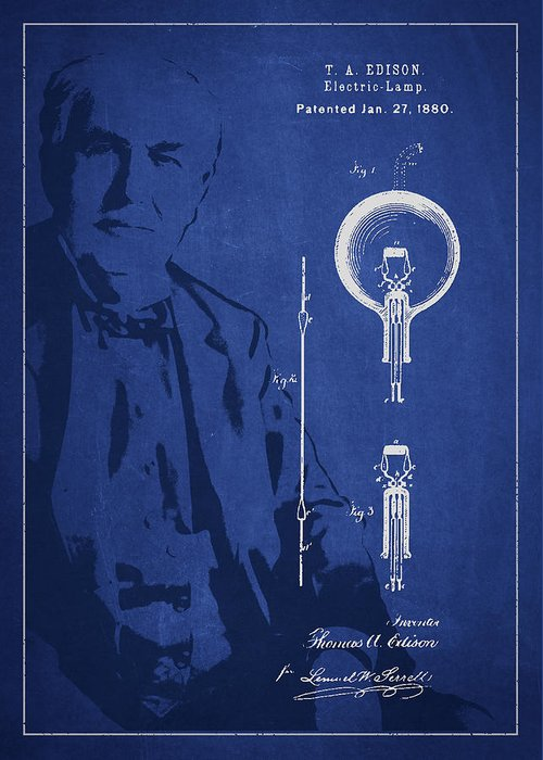 Thomas Edison Greeting Card featuring the digital art Thomas Edison Electric Lamp Patent Drawing From 1880 by Aged Pixel
