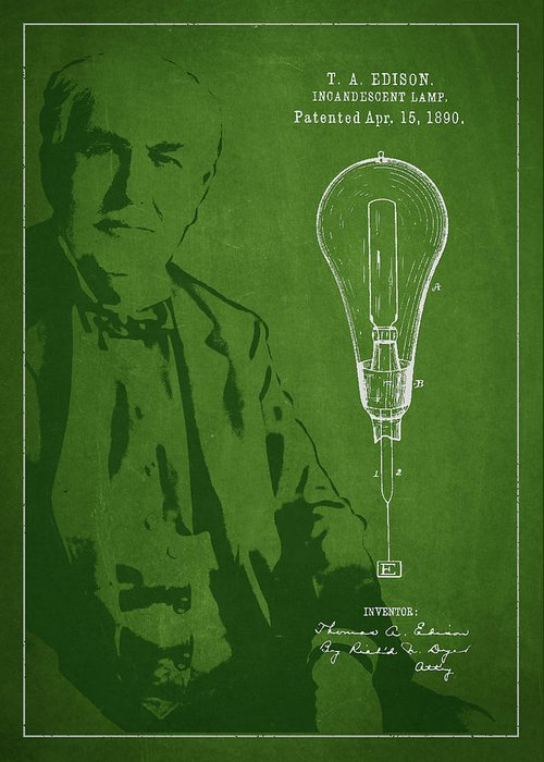 Thomas Edison Greeting Card featuring the digital art Thomas Edison Incandescent Lamp Patent Drawing From 1890 by Aged Pixel