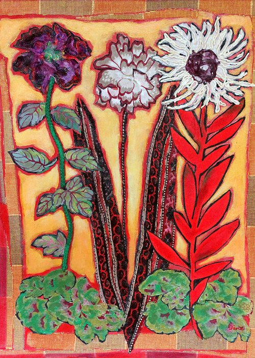 Free Standing Flowers Greeting Card featuring the mixed media Three Flowers by Diane Fine