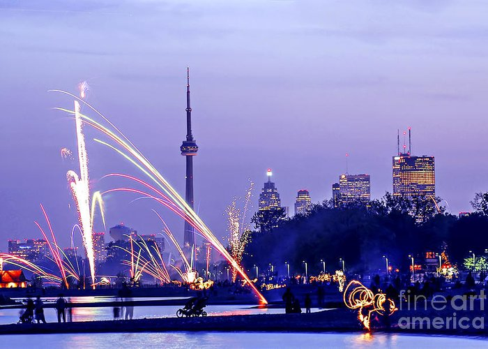Toronto Greeting Card featuring the photograph Toronto Fireworks by Elena Elisseeva