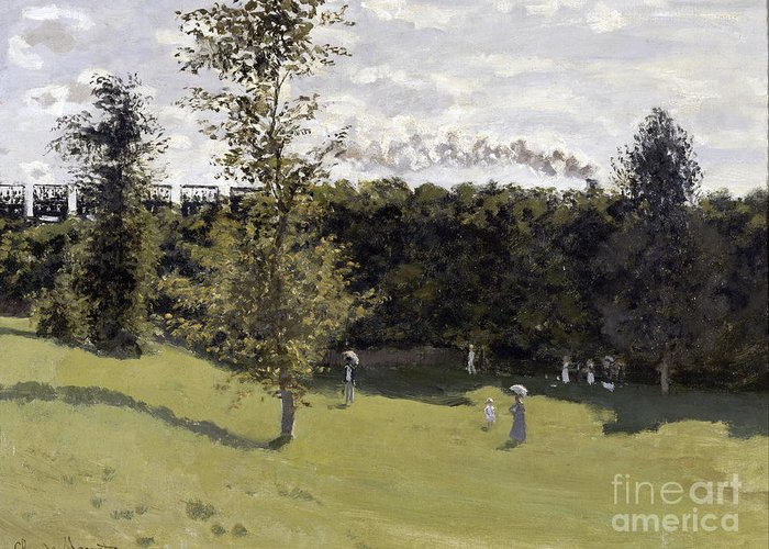 Claude Greeting Card featuring the painting Train In The Countryside by Claude Monet