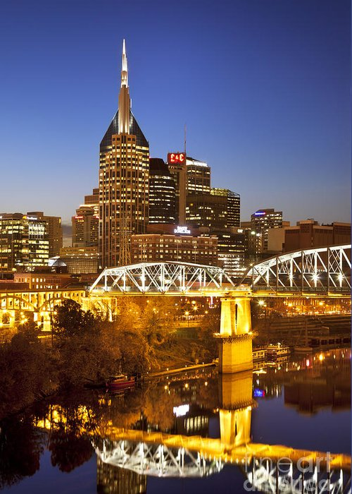 Nashville Greeting Card featuring the photograph Twilight Over Nashville Tennessee by Brian Jannsen