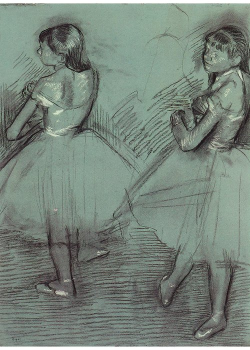 Two Dancers Greeting Card featuring the drawing Two Dancers by Edgar Degas