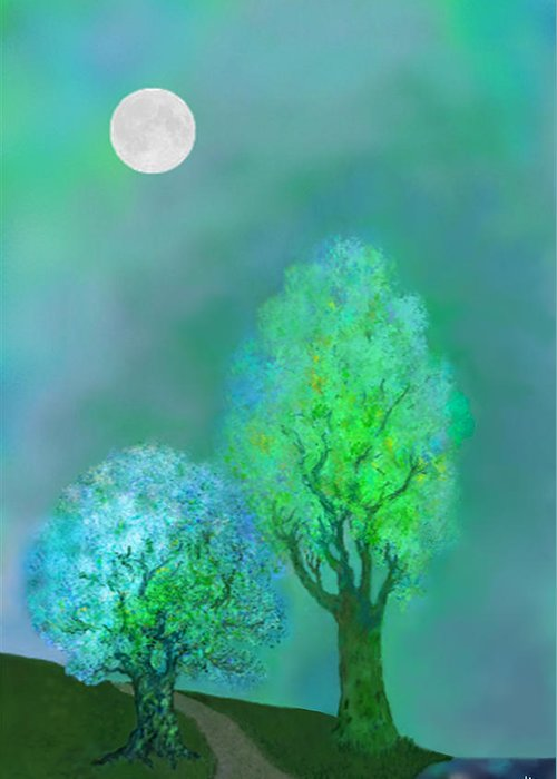 Twilight Greeting Card featuring the digital art unbordered DREAM TREES AT TWILIGHT by Mathilde Vhargon