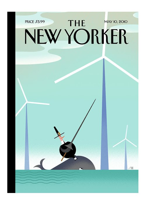 Wind Farm Greeting Card featuring the painting New Yorker May 10th, 2010 by Bob Staake