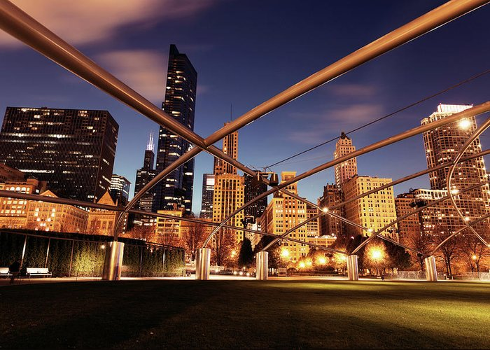 Downtown District Greeting Card featuring the photograph Usa, Illinois, Chicago, Cityscape by Henryk Sadura
