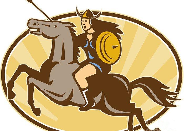 Valkyrie Greeting Card featuring the digital art Valkyrie Riding Horse Retro by Aloysius Patrimonio