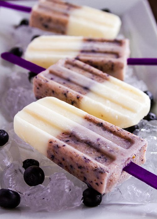 Background Greeting Card featuring the photograph Vanilla And Blueberry Popsicles by Teri Virbickis