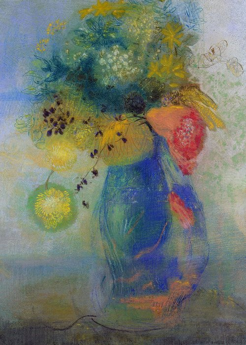 Still Life Greeting Card featuring the painting Vase Of Flowers by Odilon Redon