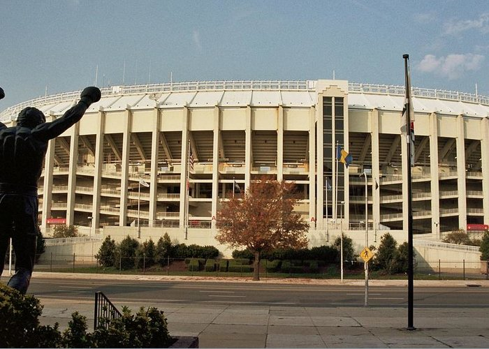 Sports Greeting Card featuring the photograph Veterans Stadium by Joseph Perno