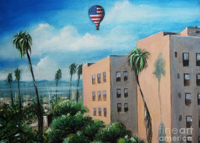 Olympic Boulevard Greeting Card featuring the painting View from Olympic Boulevard by - Artificium -