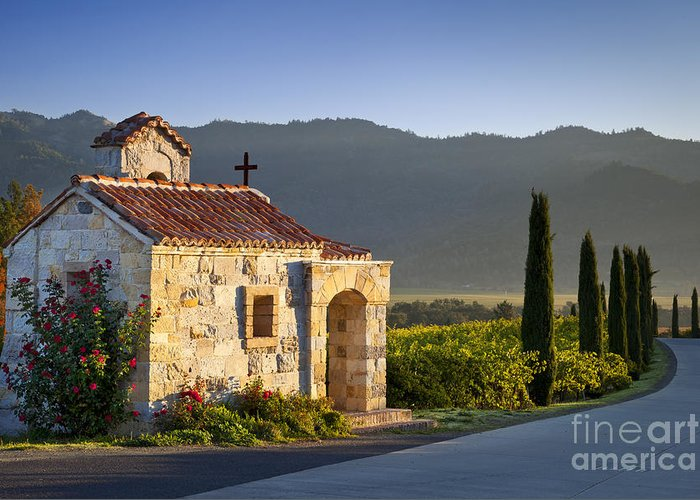 Napa Greeting Card featuring the photograph Vineyard Prayer Chapel by Brian Jannsen
