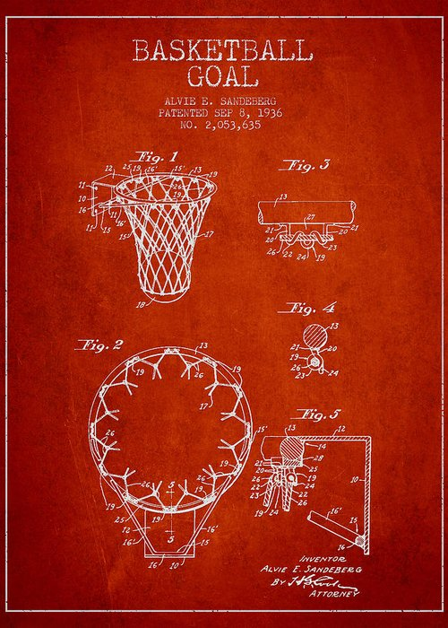 Hoop Patent Greeting Card featuring the drawing Vintage Basketball Goal Patent From 1936 by Aged Pixel