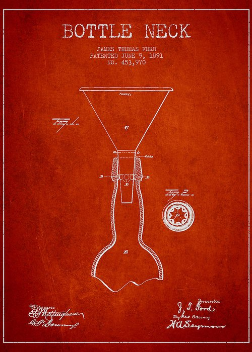 Bottle Patent Greeting Card featuring the digital art Vintage Bottle Neck Patent From 1891 by Aged Pixel