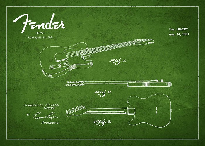 Fender Greeting Card featuring the digital art Vintage Fender Guitar Patent Drawing From 1951 by Aged Pixel