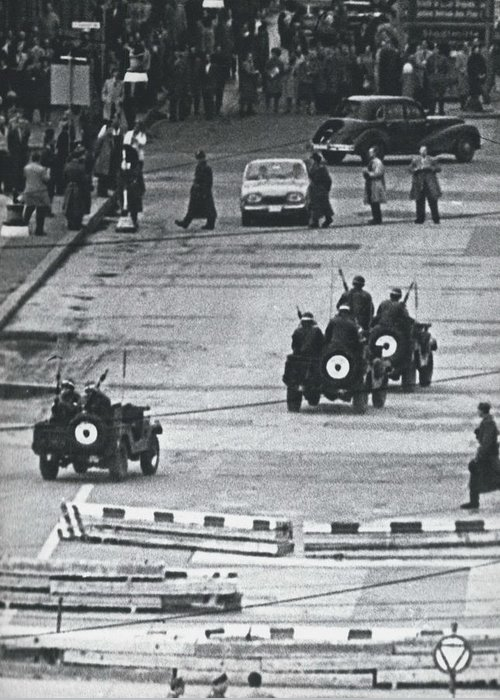 retro Images Archive Greeting Card featuring the photograph Volkspolice Tried To Hinder The American Traffic In Berlin by Retro Images Archive