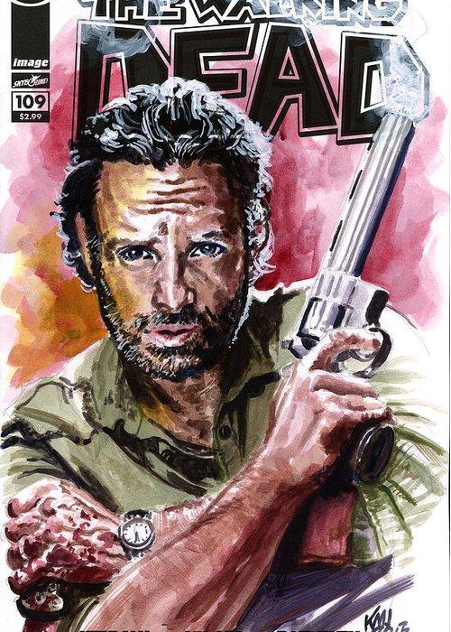 Walking Dead Greeting Card featuring the painting Walking Dead Rick by Ken Meyer jr