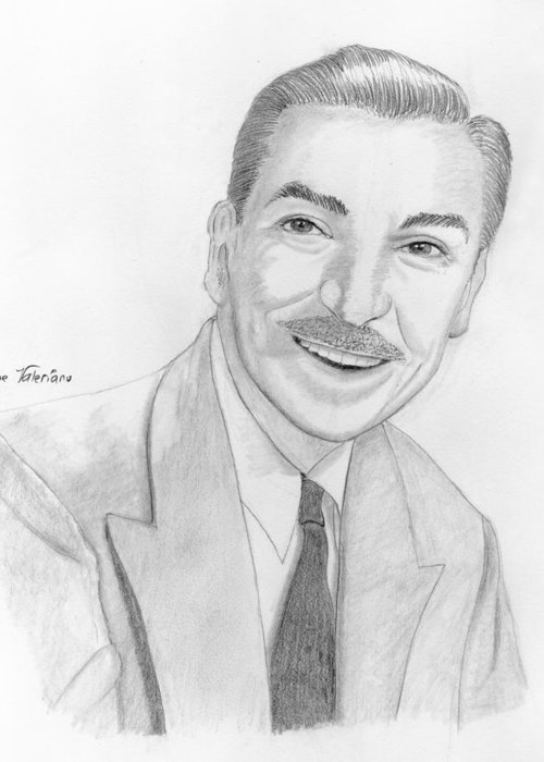 Walt Disney Greeting Card featuring the drawing Walt Disney by M Valeriano
