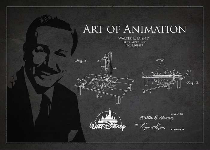 Walt Disney Greeting Card featuring the drawing Walt Disney Patent From 1936 by Aged Pixel