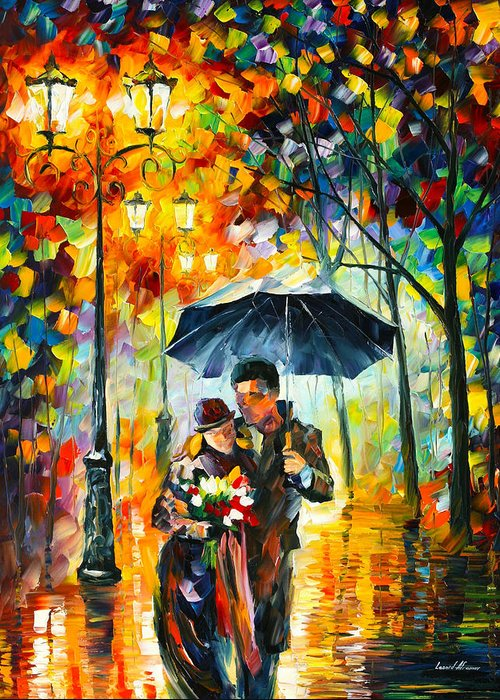 Warm Greeting Card featuring the painting Warm Night by Leonid Afremov