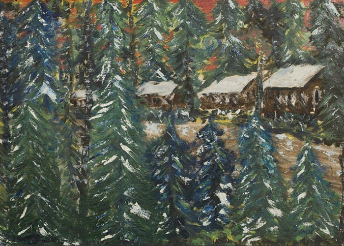 Door County Greeting Card featuring the painting Winter Has Come To Door County. by Andrew J Andropolis