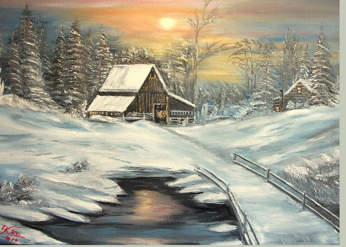 Winter Greeting Card featuring the painting Winter by Kenneth LePoidevin