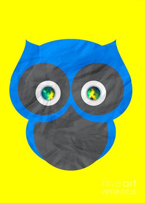 Owl Greeting Card featuring the digital art Wise Owl by Henrietta Buwalda