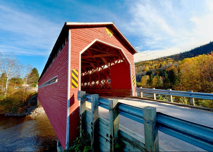 Bridge Greeting Card featuring the photograph Wooden Covered Bridge by U Schade
