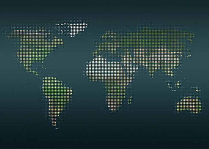 Panoramic Greeting Card featuring the digital art World Map In Dots Against An Abstract by Ralf Hiemisch