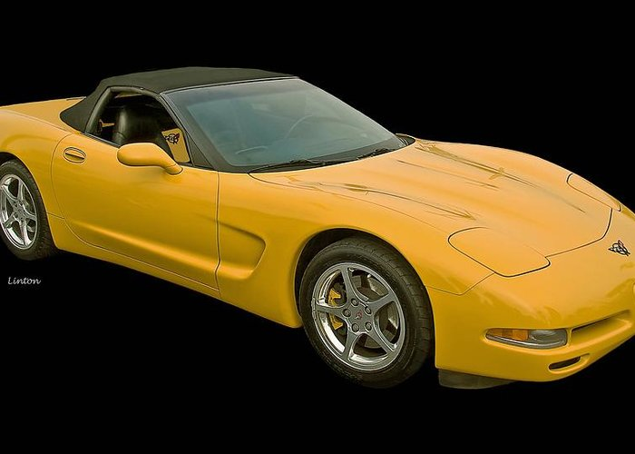 Corvette Greeting Card featuring the photograph Yellow Corvette 2 by Larry Linton