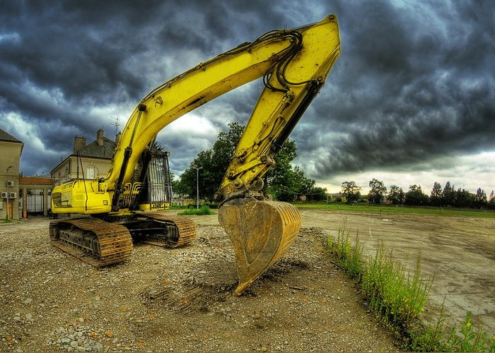 Big Greeting Card featuring the photograph Yellow Excavator by Jaroslaw Grudzinski