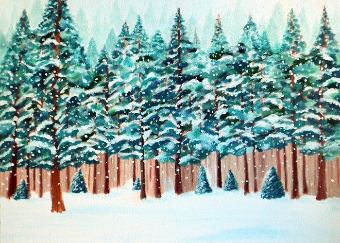 Landscape Greeting Card featuring the painting Yosemite Winter by Jan Roelofs