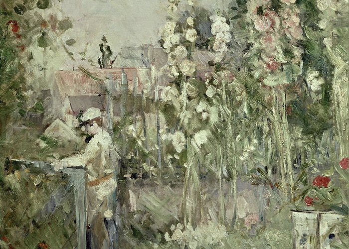 Hollyhock; Flowers; Garden; Impressionist; Gate; Summer Greeting Card featuring the painting Young Boy In The Hollyhocks by Berthe Morisot