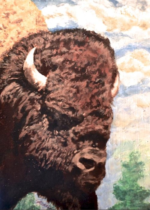 Rectangular Greeting Card featuring the mixed media Young Bull At Yellowstone by Jim Ellis