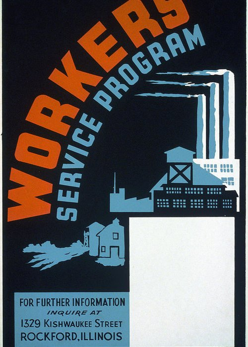 1941 Greeting Card featuring the painting New Deal Wpa Poster by Granger