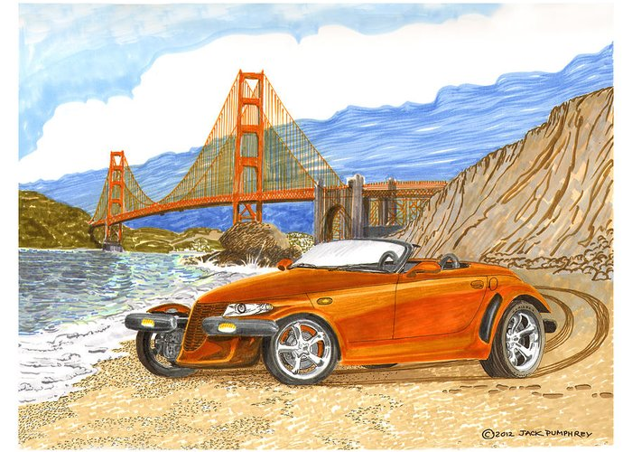 2002 Plymouth Prowler Sexy & Tight Seamed Sports Car Greeting Card featuring the painting 2002 Plymouth Prowler by Jack Pumphrey