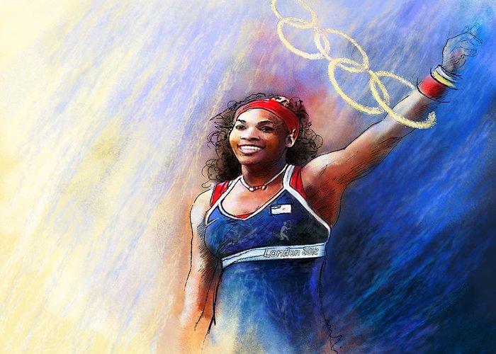 Serena Williams Mixed Media Greeting Cards