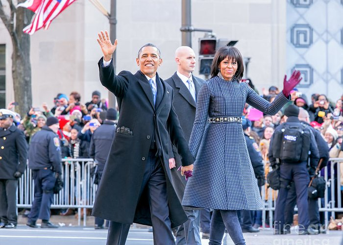 Obama Greeting Card featuring the photograph 2013 Inaugural Parade by Ava Reaves