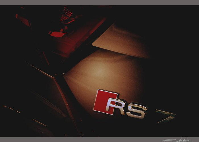 2014 Greeting Card featuring the photograph 2014 Audi Rs7 Logo Rear by Shehan Wicks