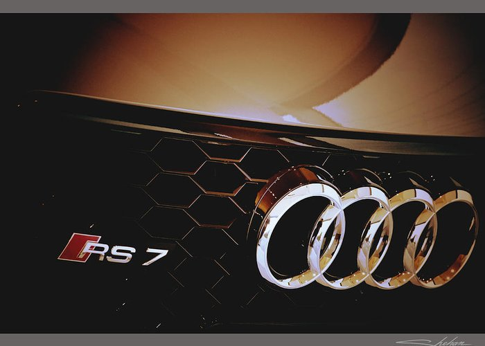 Capturing The Rs7 Logo With The Four Rings Of Audi. Greeting Card featuring the photograph 2014 Audi Rs7 Logo by Shehan Wicks