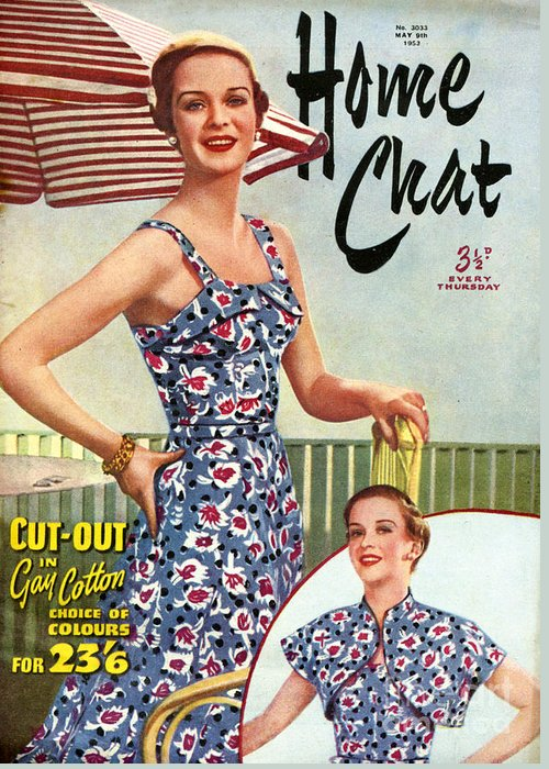 Magazine Cover Greeting Card featuring the drawing 1950s Uk Home Chat Magazine Cover by The Advertising Archives