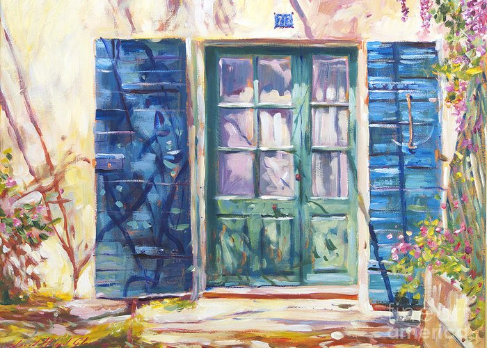 Landscape Greeting Card featuring the painting 213 Rue De Provence by David Lloyd Glover