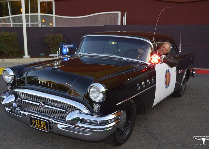 1955 Buick Highway Patrol Greeting Card featuring the photograph 2150 To Headquarters by Tommy Anderson